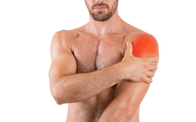 Man with shoulder pain isolated over white background